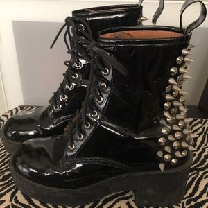 """JEFFREY CAMPBELL """"8th Street"""" Patent Spiked Boots"""